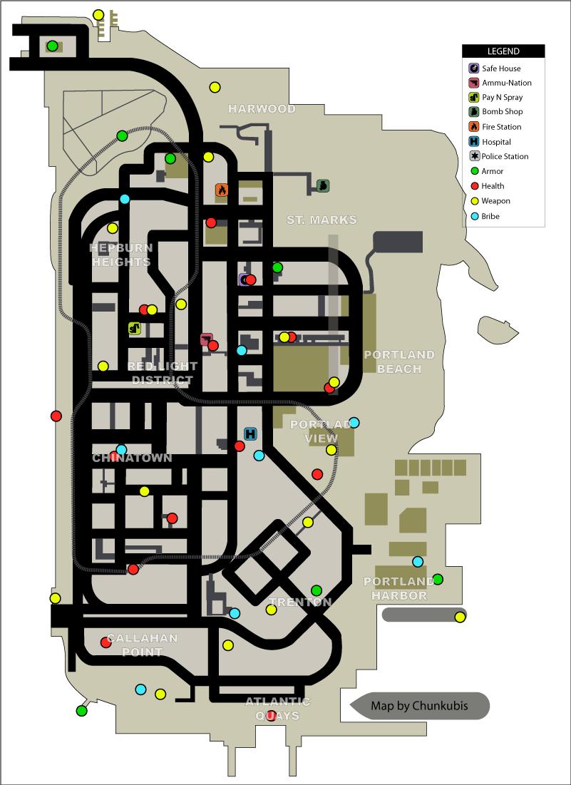 Карта здоровья, брони, оружия, полицейских значков в GTA Liberty City Stories на острове Portland