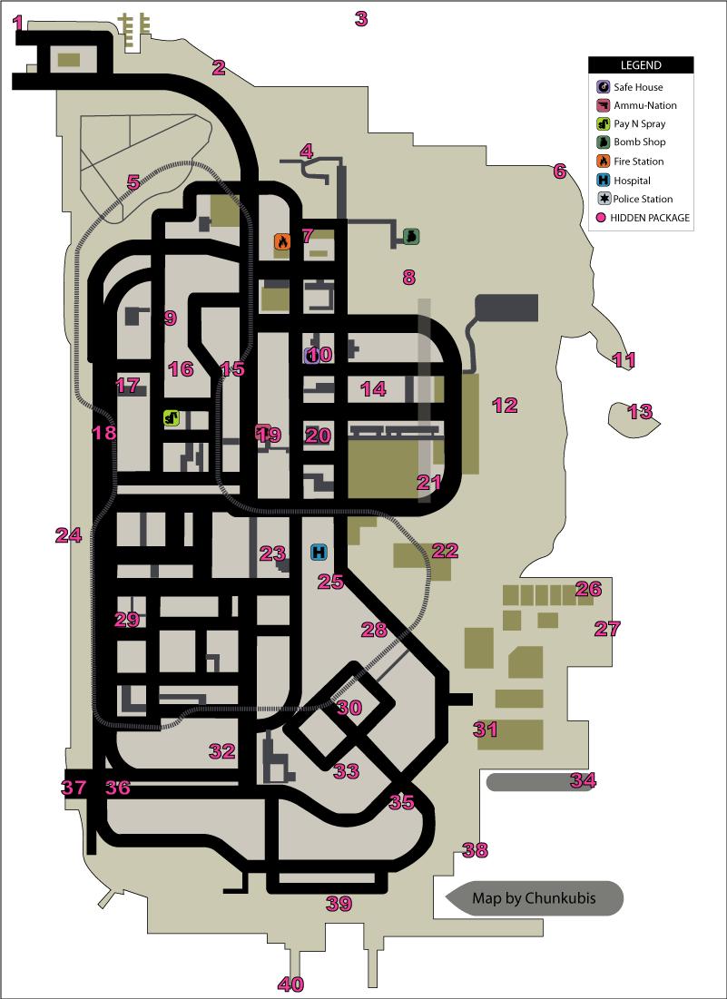 Карта скрытых (спрятанных) пакетов (hidden packages) в GTA Liberty City Stories на острове Portland