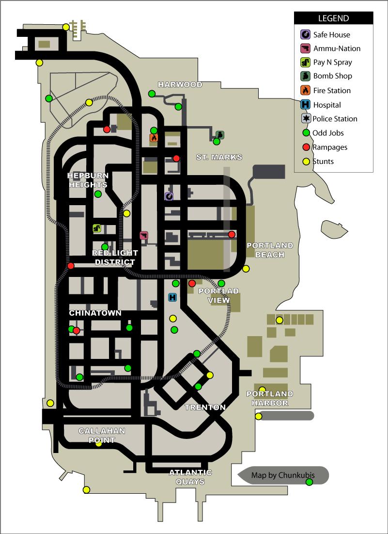 Карта сумасшедших прыжков (stunt jumps) и безумий (rampages) в GTA Liberty City Stories на острове Portland