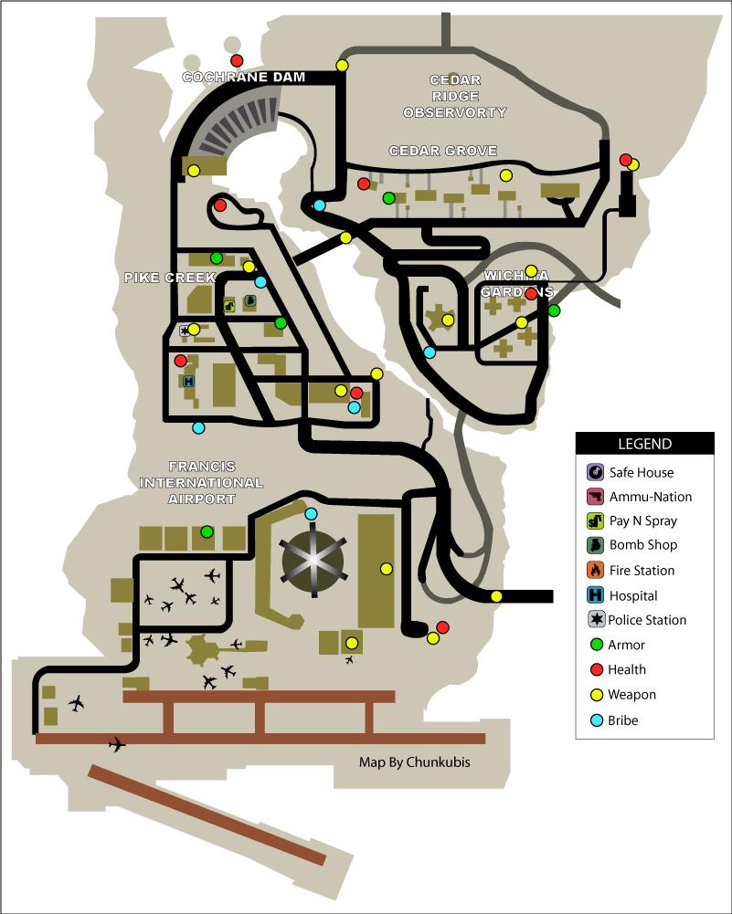 Карта здоровья, брони, оружия, полицейских значков в GTA Liberty City Stories на острове Shoreside Vale