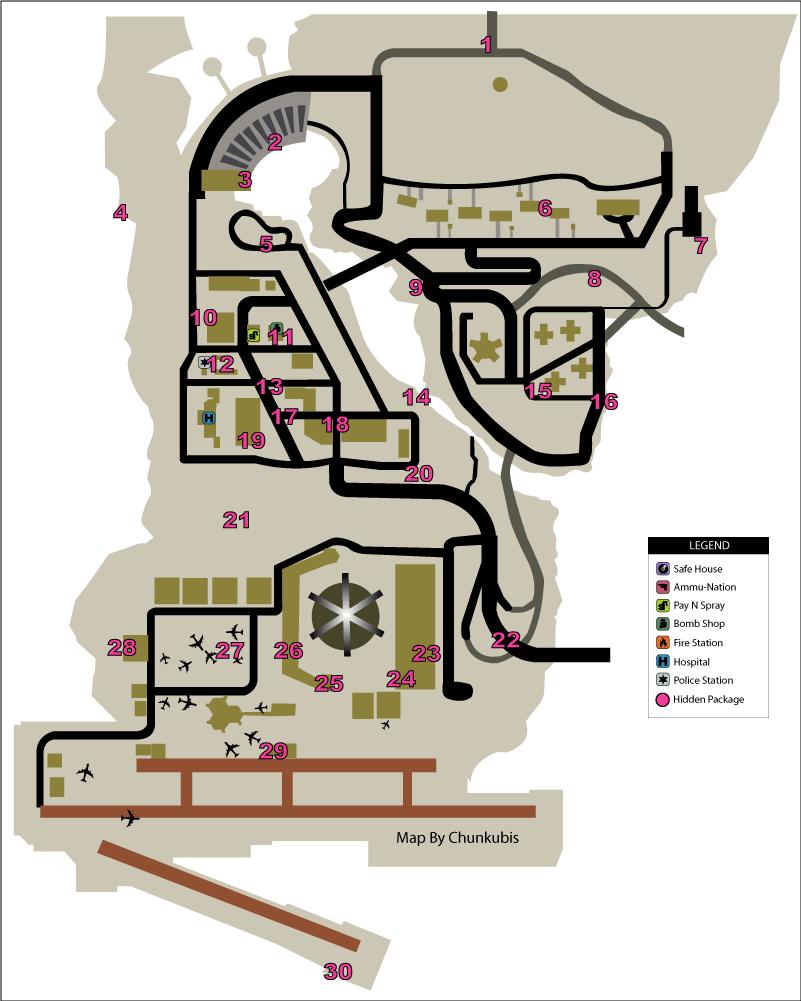Карта скрытых (спрятанных) пакетов (hidden packages) в GTA Liberty City Stories на острове Shoreside Vale