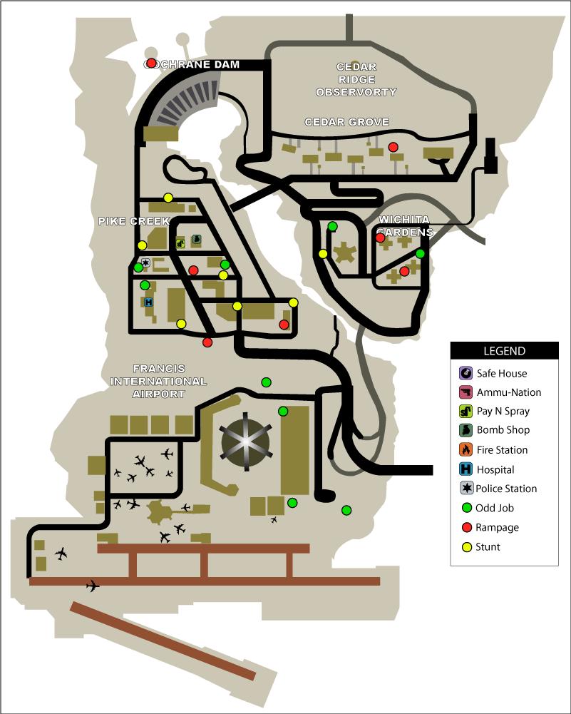 Карта сумасшедших прыжков (stunt jumps) и безумий (rampages) в GTA Liberty City Stories на острове Shoreside Vale