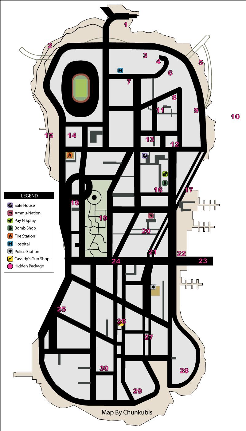 Карта скрытых (спрятанных) пакетов (hidden packages) в GTA Liberty City Stories на острове Staunton Island