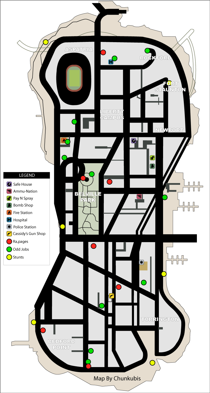 Карта сумасшедших прыжков (stunt jumps) и безумий (rampages) в GTA Liberty City Stories на острове Staunton Island